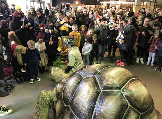 zelva the giant tortoise animatronic puppet by the flying buttresses